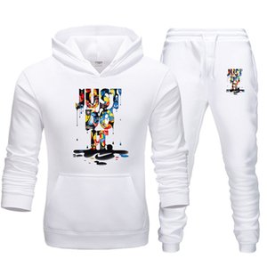 2020 Lässige Kleidung Männer Pullover Pullover Cotton Männer Tracksuits Hoodie Zwei Stücke + Hosen-Sport-Shirts Herbst Winter Trainingsanzug Schwarz