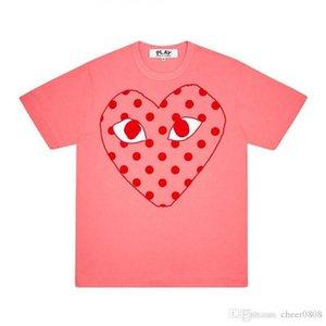 2020 Mejor Calidad Corazón New Play Com Men Mujeres Comisiones Black des Play Garcons CDG Heart Striped Tee Short Tee des Garcons Camiseta