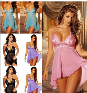 See Through Womens Sexy Pyjamas Lace Solid Color Spaghetti Strap Oversize Womens Designer Sexy Sleepwear
