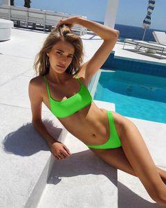 Melphieer Womens Bikini Set Beachwear Ribbed Neon Solid Thong Micro Swimwear Two Pieces Swimsuit Bather Bathing Suit Monokini