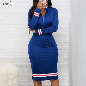 Turtleneck Zipper Striped Dress For Lady Black Long Sleeve Women Bodycon Dress Autumn Knee Length Office Work Pencil Midi Dress