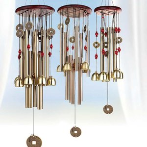 Chinese Traditional Coins Feng Shui Wind Chime Bell Metal Pendant for Good Luck Fortune Home Hanging Decor Gift T200703