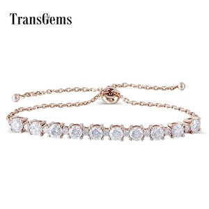 Transgems Solid 18K 750 Rose Gold 2.8CTW F Color 4MM and 2MM Moissanite Adjustable Chain Bracelet for Women Wedding Gifts Y200620