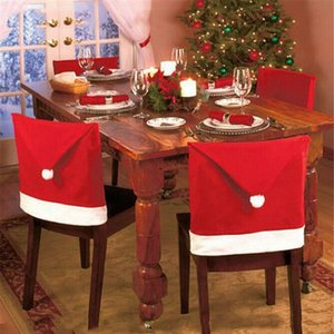 Christmas Chair Cover Santa Clause Red Hat Chair Back Covers Dinner Chair Cap Xmas Chairs Cover Home Christmas Party Decoration DBC VT0531