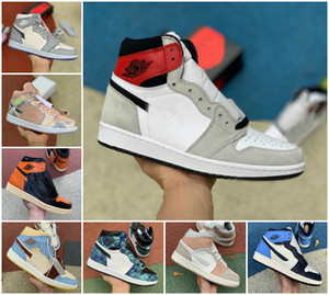 2020 1s High Light Smoke Grey Mens-Basketballschuhe zerschmetterten Backboard Jumpman 1 Obsidian UNC White Chicago Frauen Travis Scotts Sneakers