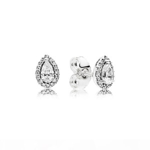 Y Authentic 925 Silver Teardrop Ring And Earring Sets Original Box For Pandora Cz Diamond Women Wedding Jewelry Tear Drop Ring Stud Ear