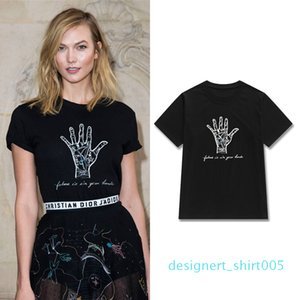 20Designer Women Print T Shirts 2020 Spring Summer Casual Female Hand Letter Prints Round Neck Short Sleeve Black Plain Tee Tops d05