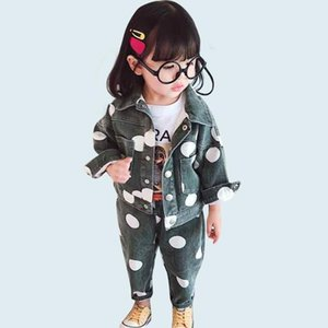 Kids Clothes Dot Jacket + Jeans Girls Clothing Set Turn Down Collar Denim Suit For Baby Girl Autumn Novelty Kids Suit For Girls