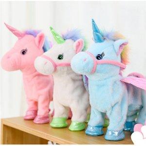 35cm Belle électrique Walking Unicorn peluche Peluche peluche électronique Pet Unicorn Doll Chantez enfants Chanson Anniversaire Bébé Cadeaux de Noël