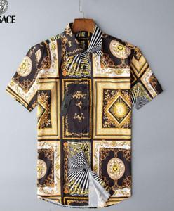 2020 Fashion Designer Slim Fit Shirts Men 3D Black Gold Floral Print Mens Dress Shirts Long Sleeved Business Casual Shirts Males Clothes