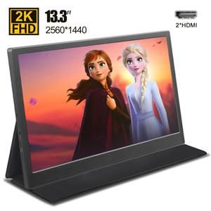 """moniteur portable 13,3"""" pouces 2K 2560x1440 écran LCD HDMI HDR pour PS4 respberry pi 4 écran de jeu de moniteur PC portable avec étui"""