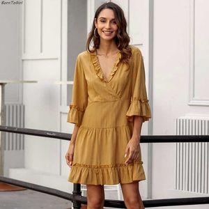 BornToGirl otoño invierno 2020 las mujeres del vestido de la manga de tres cuartos cuello en V vestido amarillo Volantes femme bata