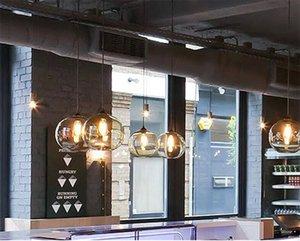 Nordic LED Vintage Industriële Rook Glas Schaduw Loft Hanglamp Schorsing Licht voor Woonkamer Eetkamer Hanger Lampen