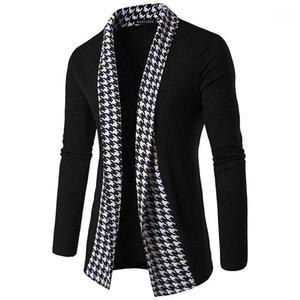 Completa abrigos para hombre Moda felpa Luxuy Ropa para Hombres de la tela escocesa del remiendo del diseñador de los hombres prendas de vestir exteriores de la puntada abierta informal