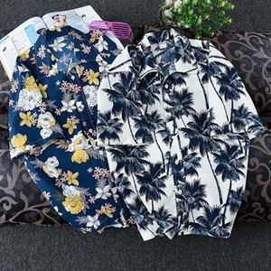 3 colori camicie da uomo Fashion Casual spiaggia di estate camicia a maniche corte Surf Quick Dry Coconut Tree Stampa Mare Hawaii allentato Shirt