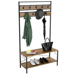 3-in-1 Entryway Shoe Bench Coat Rack Hall Tree Storage Organizer With Hooks