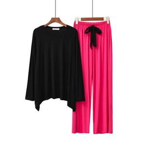 Automne nouveau style Pyjama femmes'S Home Wear Pajamas Set col rond manches longues Pantalons Pantalon large jambe de contraste couleur