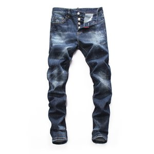 Mens Distressed Ripped Biker Jeans Slim Fit Motorcycle Biker Denim For Men Fashion Balma Designer Hip Hop New Style Famous Brand Jeans