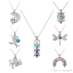 Gemischte Perlen Käfig Medaillon Anhänger-Weinlese Aroma Mermaid Ätherisches Öl Diffuser-Halskette für DIY Schmuck