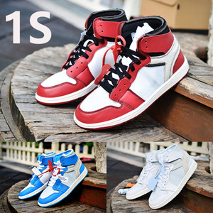مربع مع 1 عالية OG 1S الأبيض X ترافيس سكوتس أحذية الرجال لكرة السلة مسحوق UNC الزرقاء صبغ التعادل شيكاغو الرجال والنساء المدربين أحذية رياضية