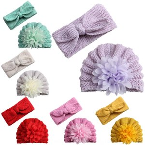 Children's wool hat Warm cap pullover cap baby rabbit ear hair band two-piece suit outdoor warm pullover hat
