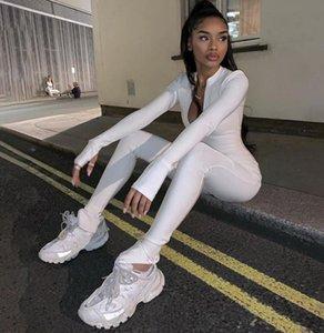 Simenual Casual Sporty macacãozinho mulheres Macacões aptidão do exercício Zipper Activewear manga comprida magro sólidos macacões outono