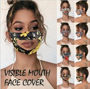 Lip Klar Maske Lippen Sprache Visible Mund Gesicht Abdeckung Antinebel Staub Transparente Maske Druck Fest Farbe Adult Deaf Mundschutz LJJP146