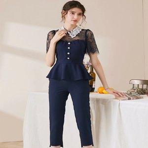 2020 womens high-quality original single design ChanêI luxury fashion doll lapel lace top simple nine-point pants two-piece suit