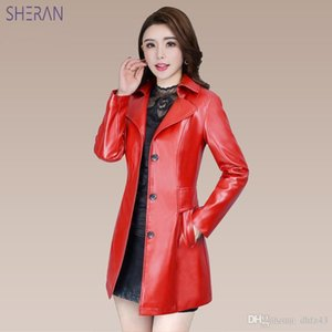 2018 Blouson Cuir Femme Long Faux Leather Jackets Black Red Slim Fit Leather Coat Autumn Winter Women Jackets Outerwear