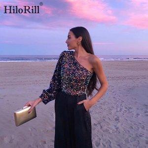 HiloRill 2020 Mujeres Sexy de un hombro de la blusa de las lentejuelas de inclinación del collar partido de las señoras Tops Calle Bling Tops Túnica Camisas Mujer