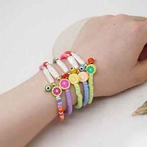Women Boho Bracelets Multicolored Polymer Clay Baroque Pearl Lemon Rainbow Stretch Bracelet Bohemian Beach Beaded Strands Bracelets Jewelry