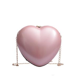Bestform 2020 Fashion Women Zipper Heart-shaped Crossbody Bag Chains Hight Quality PU Leather Solid Hasp Handbag Ladies Blosa