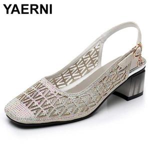 YAERNI summer sandals for women square toe crystal mesh cutout hollow out fashion shoes square heel buckle shoe Slingback