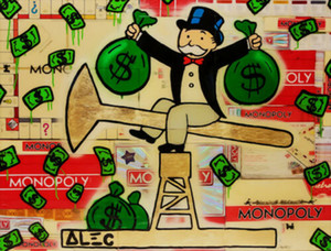 Alec Monopoly graffiti art Oil Money Home Decor Handpainted &HD Print Oil Painting On Canvas Wall Art Canvas Pictures 1190