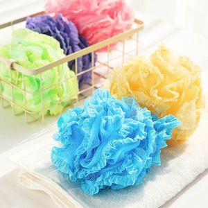 Alta Qualidade Lace malha Pouf Esponja de banho Spa Manuseio do Corpo Shower Scrubber bola colorida Banheira Escovas Esponjas