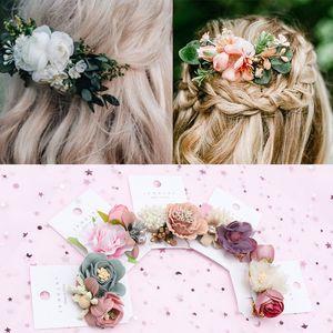 Neue Blumenhaarclips für Haar Frauen Boho Haarnadeln künstliche Blumen-Haarspangen Bögen Bride Mädchen-Accessoires