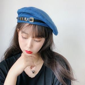 Korean street fashion belt buckle women's thin Painter's beret all-match Cowboy Painter hat beret hat fashion