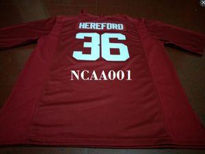 Men # 36 Mac Hereford Alabama Crimson Tide College blanc rouge noir Jersey ou sur mesure tout maillot de nom ou le numéro
