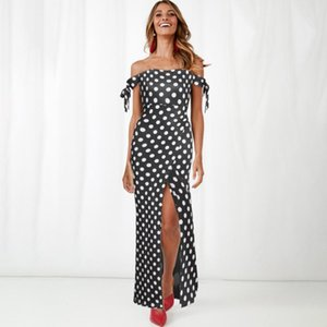 2020 Summer New Polka Dot Dress High Waist Split Sexy Dress Womens Slim-Fit Sexy Boob Tube Top off-Shoulder Floral Printed