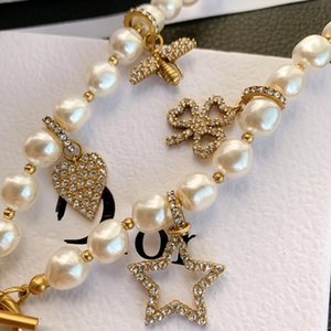 D home Pearl Bee Love star necklace full diamond High version