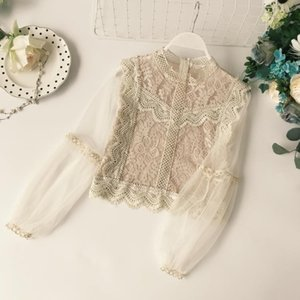 New Arrival Ladies Mesh Lace Hook Flower Lantern Sleeve Loose Retro Short Pullover Blouse Shirts Women Fashion Cute Voile Suits CX200711