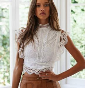 AYUALIN белые кружева верхней растениеводство Женщины блузка рубашка Летняя короткая леди партии blusas Sexy выдалбливают Zipper винтажных блузок Slim Fit