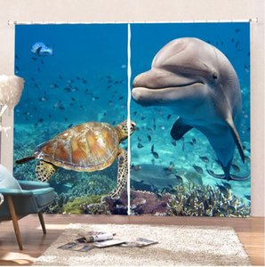 Dolphin Turtle Curtains 3D Printed Blackout Curtains Comfortable Living Room Curtain For The Kitchen For Kids Bathroom