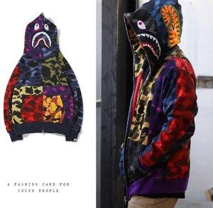겨울 새로운 도착 연인 색 스티칭 카모 캐주얼 스웨터 코트 남성 여성 청소년의 성격 타이드 브랜드 가디건 전체 지퍼 후드