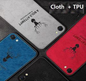 Kumaş Kumaş Doku 3D Kabartmalı Geyik Kılıf iPhone 11 pro XR XS Max X 6 6S 7 8 Artı Premium Yumuşak TPU kenar Telefon Kılıfı yeni lüks