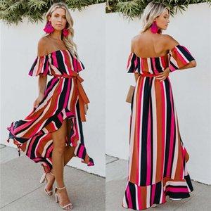 Striped Womens Summer Dress Slash Neck sciolti Designer donna Abiti Maxi casual asimmetrico vestiti da partito sexy