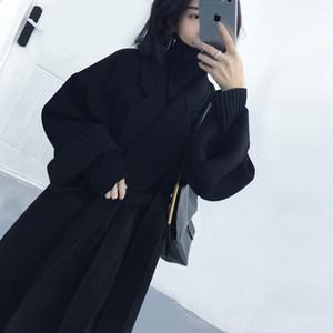 Hors saison double face rallongée sur-genou femmes en cachemire manteau de laine peignoir peignoir de laine manteau de laine lâche profil lacets