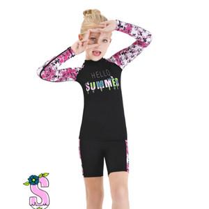 One Piece Swimwear posteriore della chiusura lampo elastiche Vestiti di immersione subacquea per bambini Bambini a manica lunga costume da bagno Snorkeling Surf Mute