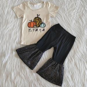 мода дети дизайнер одежды девочек, клеш нарядов молока шелковых девочки бутик Хэллоуин тыква нарядов дизайн RTs РЕБЁНКИ одежды