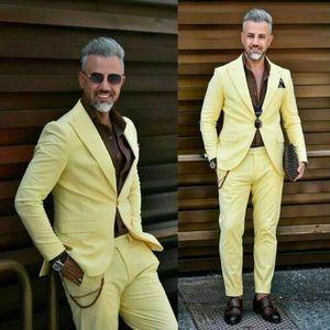 Sarı Erkekler Wedding Suit Slim Fit Prom Parti Damat smokin Blazer JacketPants Kostüm Hommes Mariage İş Çalışma Wear dökün